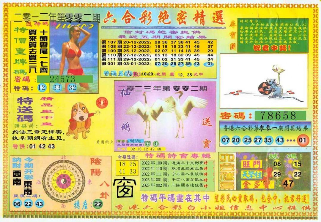 002期白姐绝密精选A(黑白)