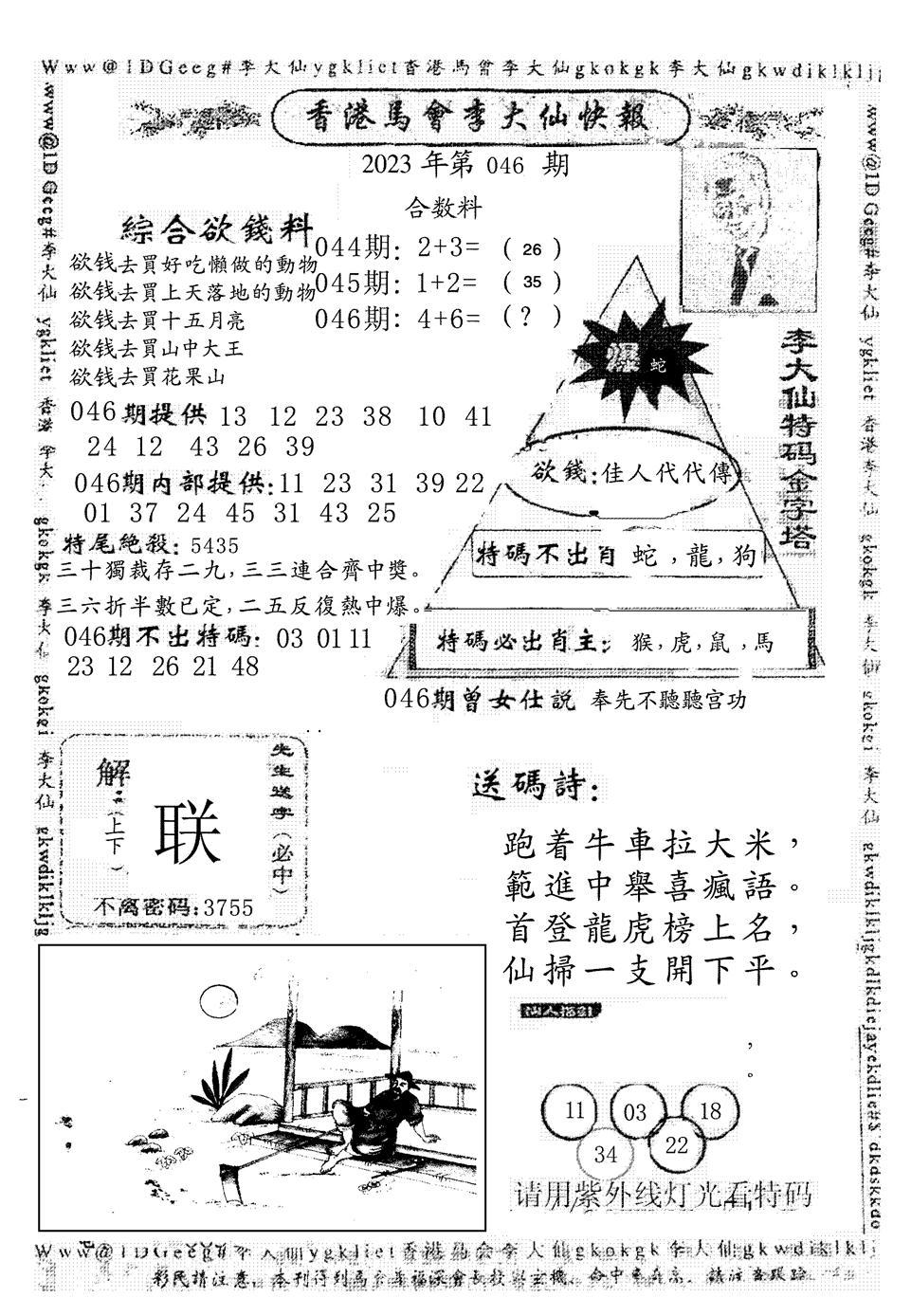 046期另版李大仙快报(黑白)