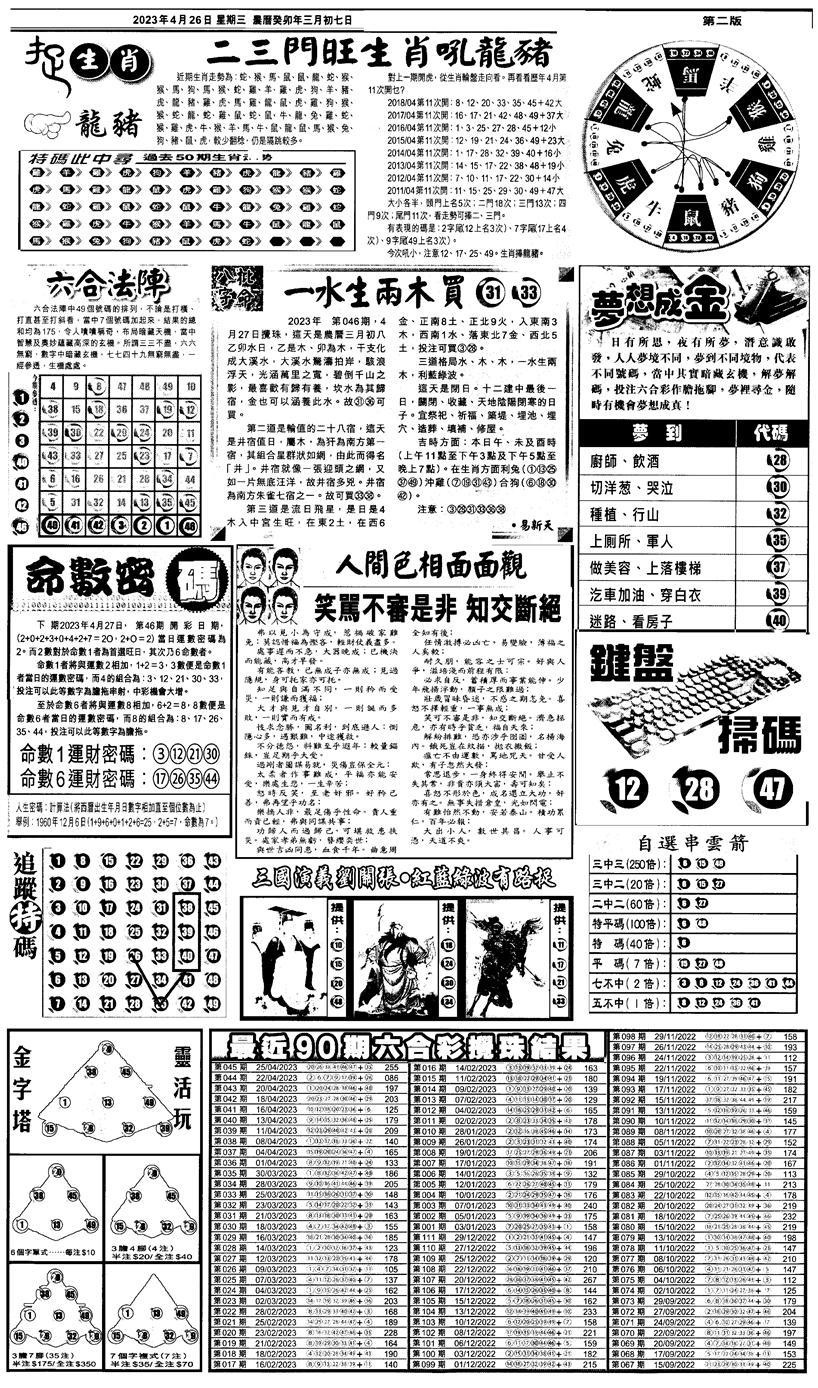 046期新报跑狗4