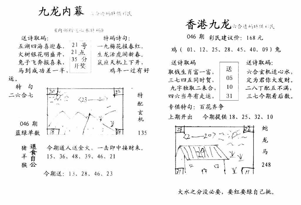 046期九龙内幕-开奖报(早图)(黑白)
