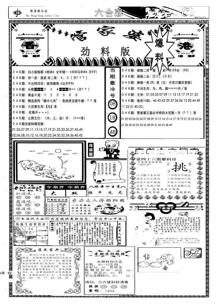 046期管家婆劲料版(新)(黑白)