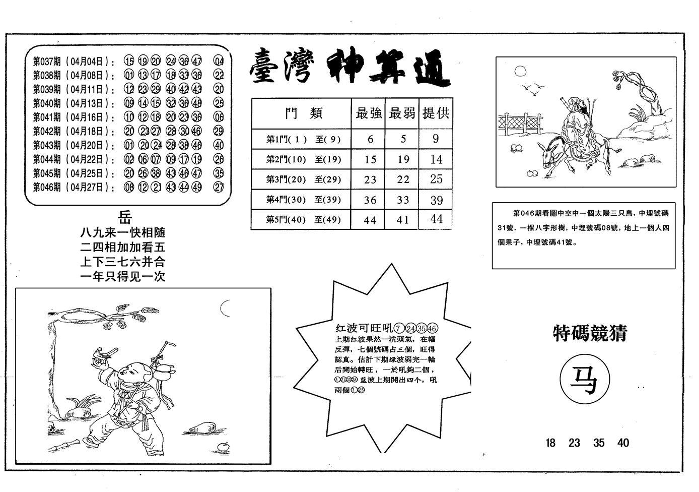 047期老潮汕台湾神算(黑白)