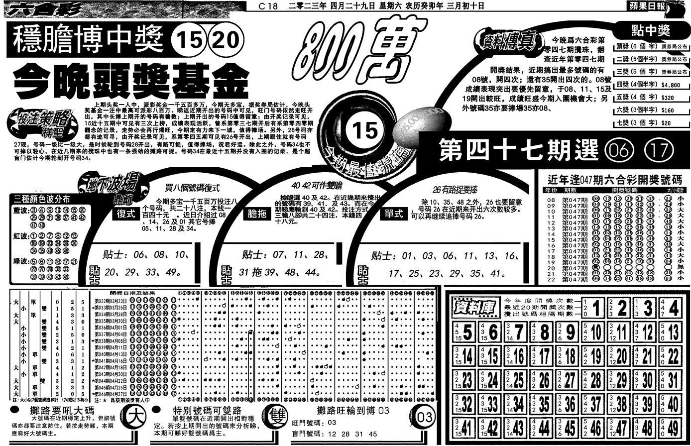 047期当日苹果日报(黑白)