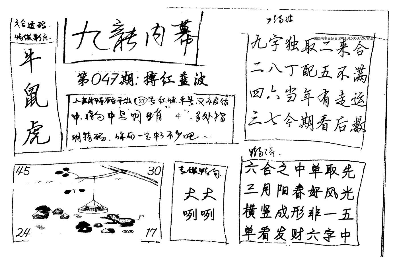 047期九龙内幕手写(黑白)