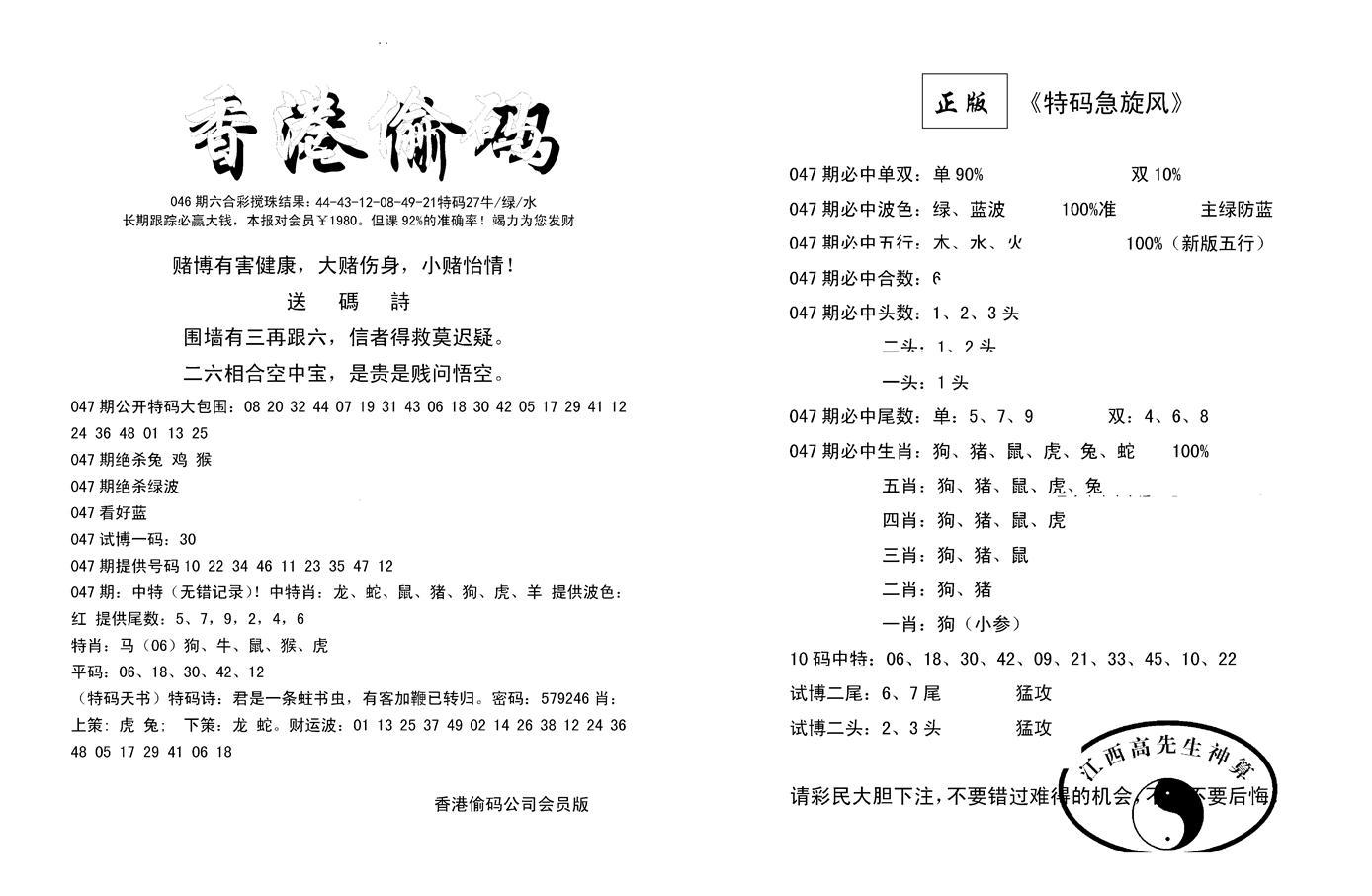 047期偷码必中单双(黑白)