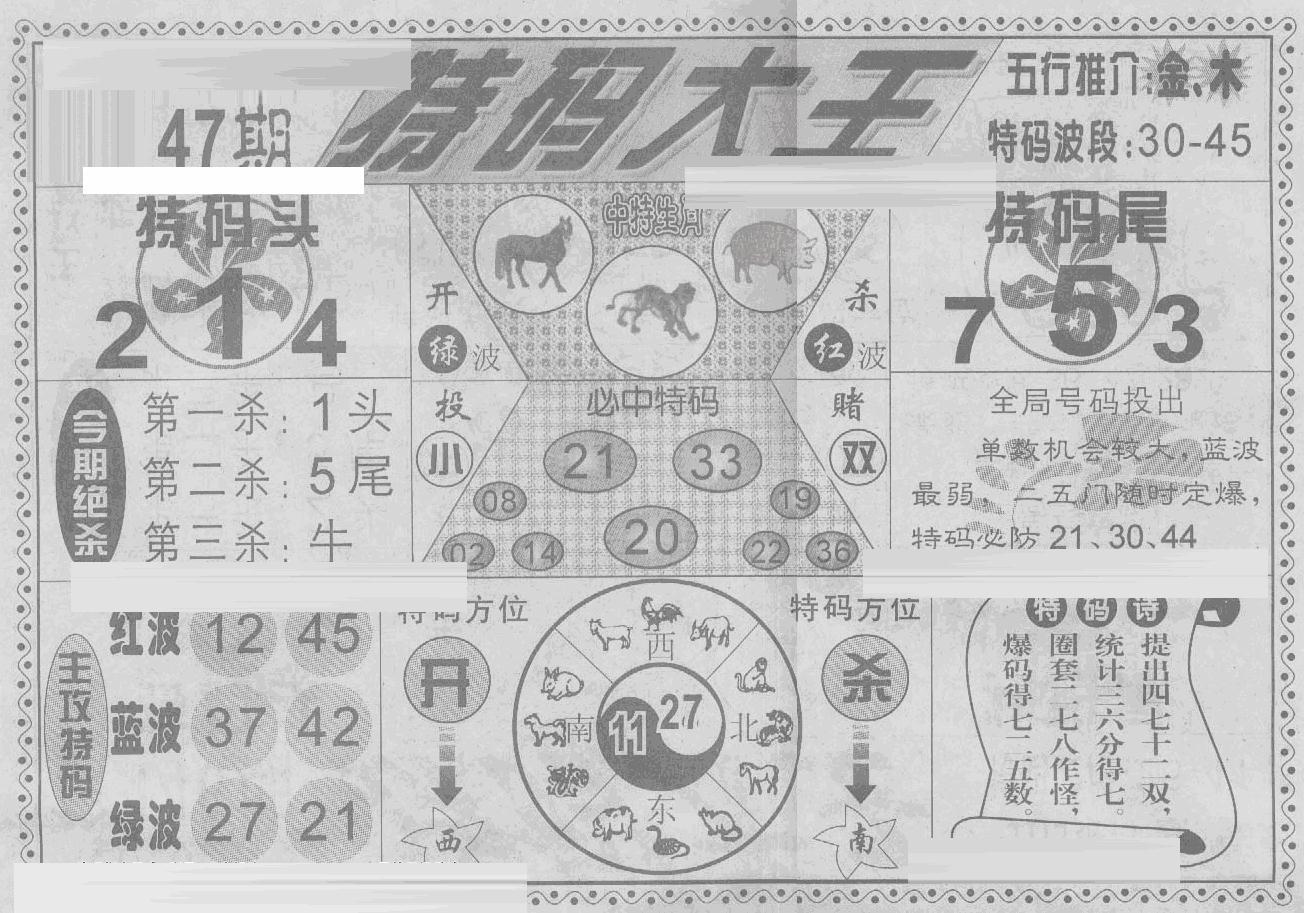 047期特码大王(黑白)
