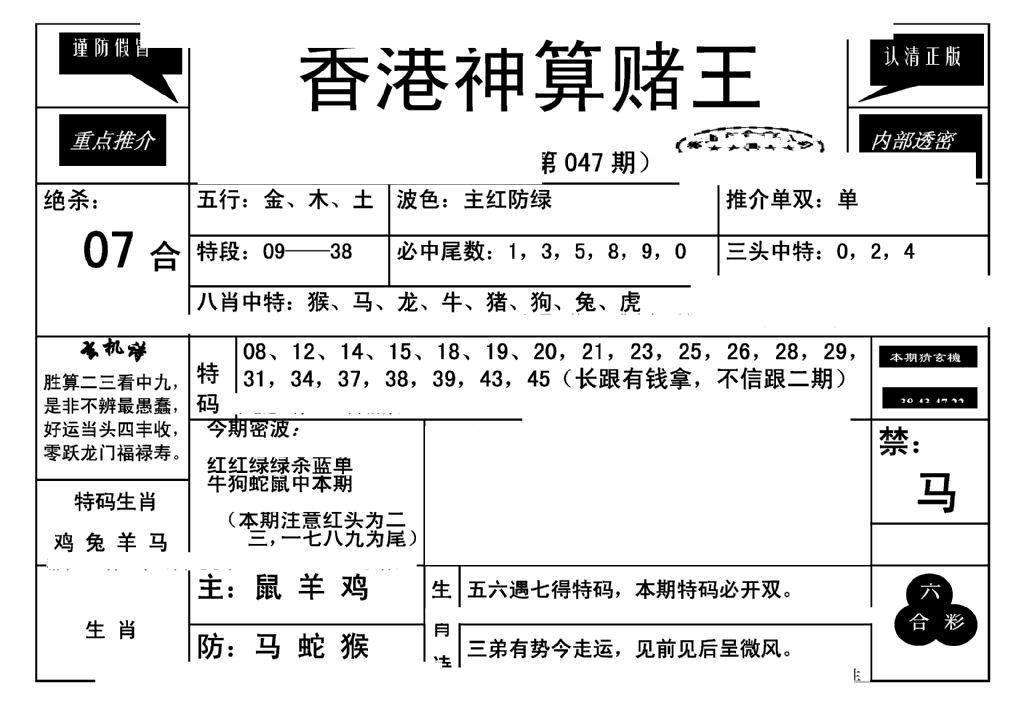 047期香港神算赌王(新)(黑白)