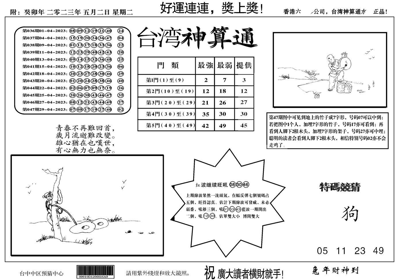 048期台湾神算(正版)(黑白)