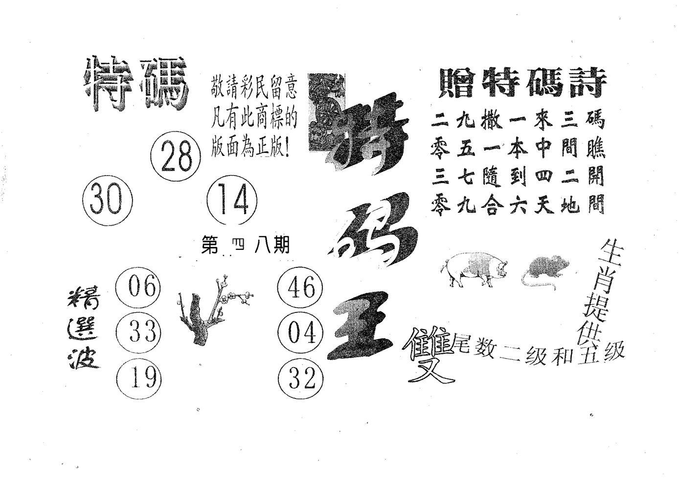048期特码王A(黑白)