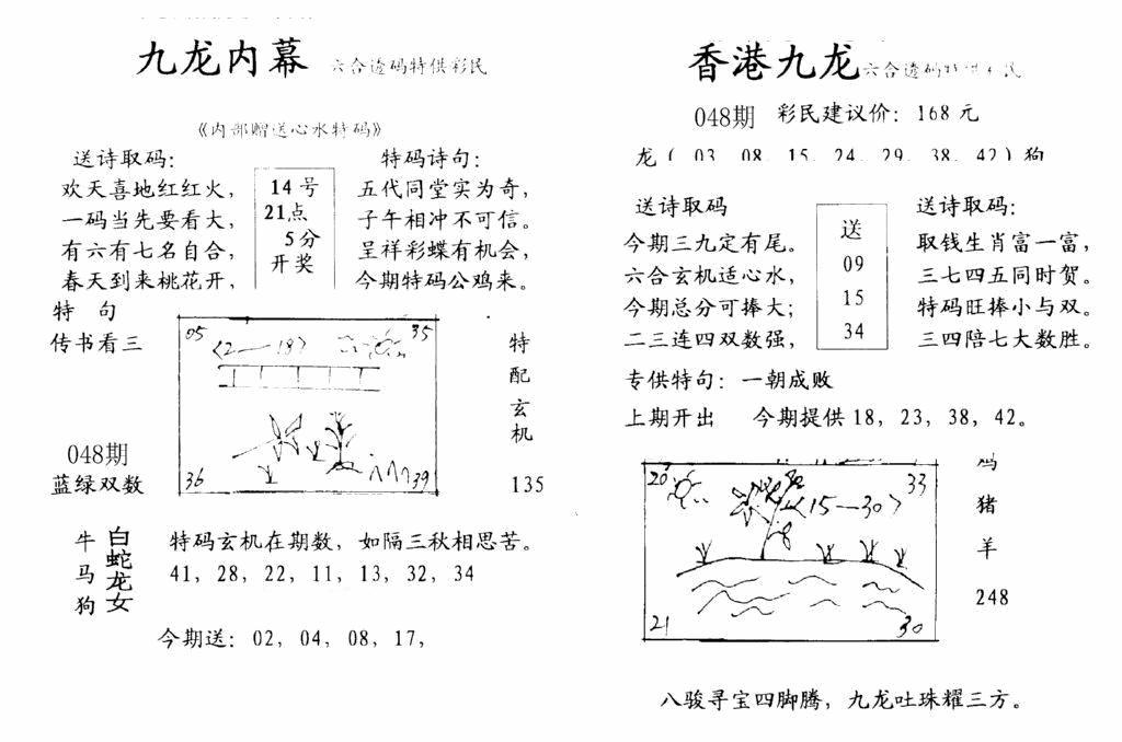 048期九龙内幕-开奖报(早图)(黑白)