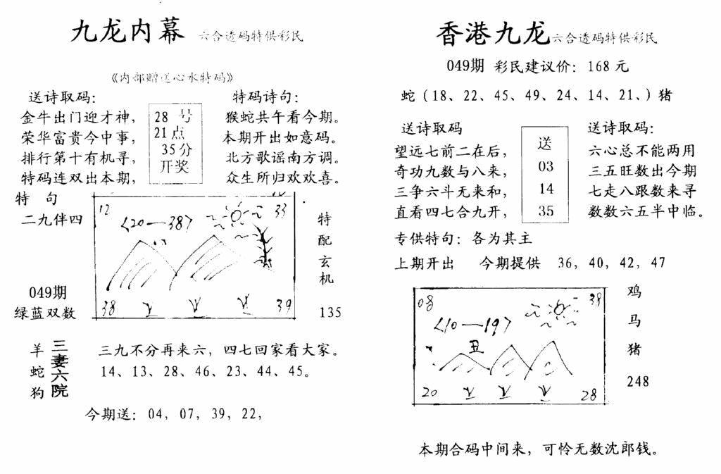 049期九龙内幕-开奖报(早图)(黑白)
