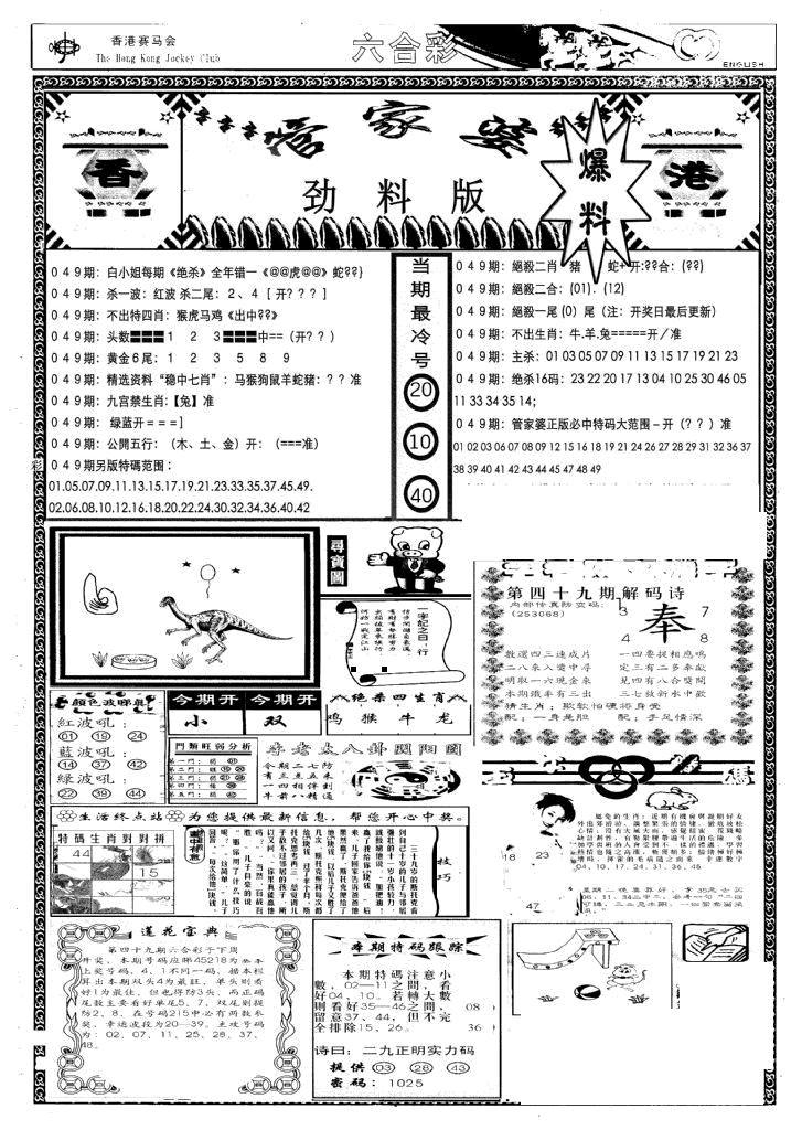 049期管家婆劲料版(新)(黑白)
