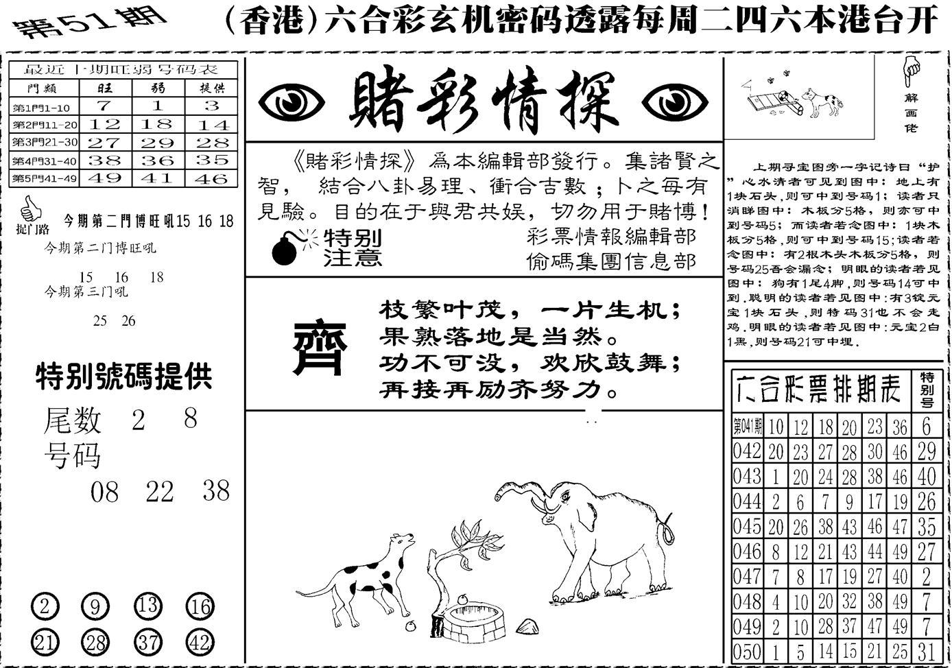 051期老版赌彩情探(黑白)