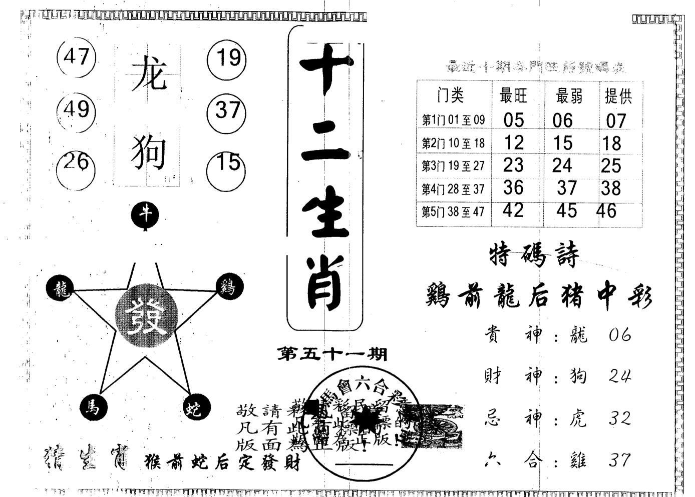 051期另版十二生肖(黑白)
