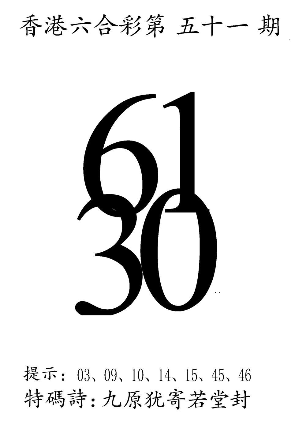 051期澳门三合王B(黑白)