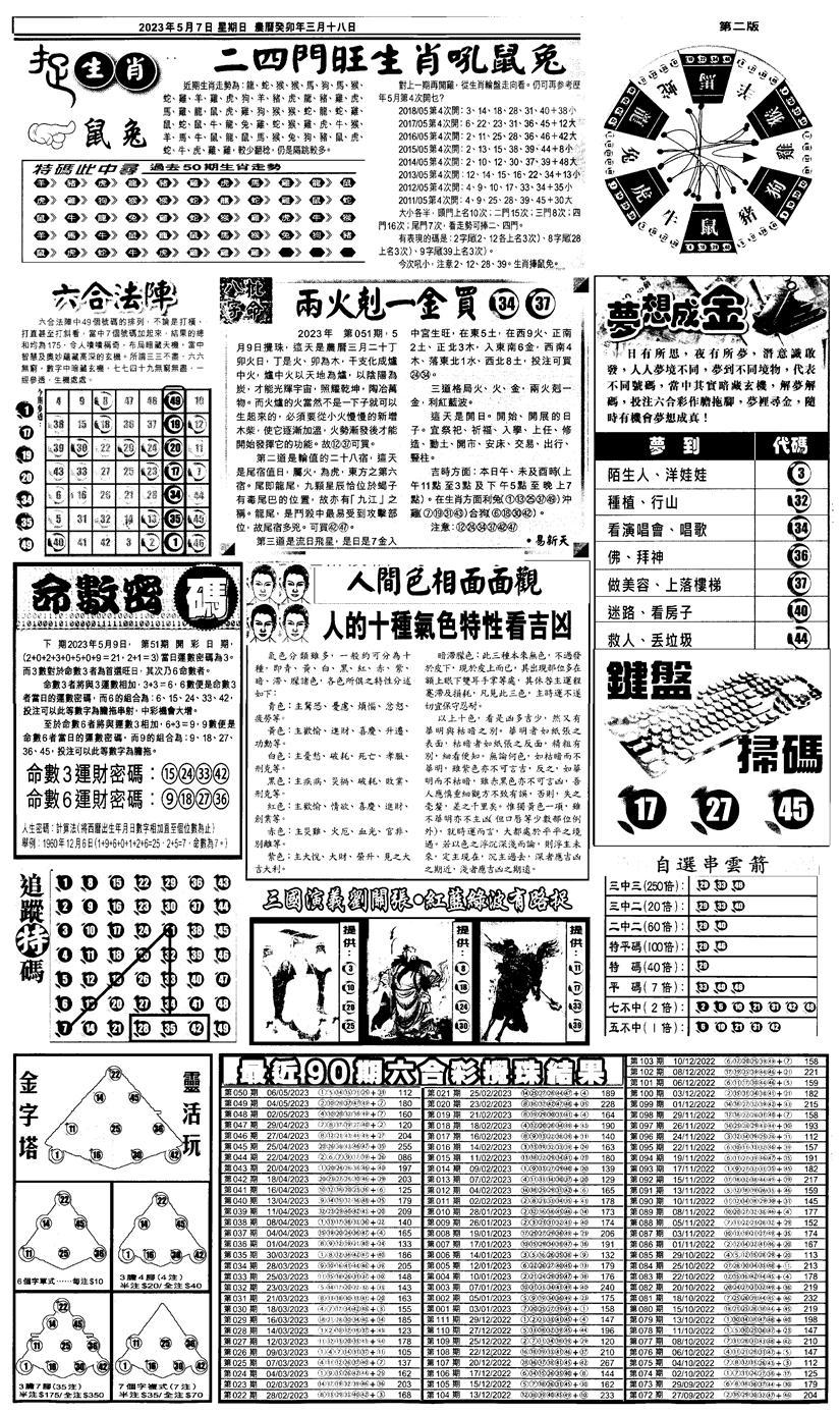 051期新报跑狗4(黑白)