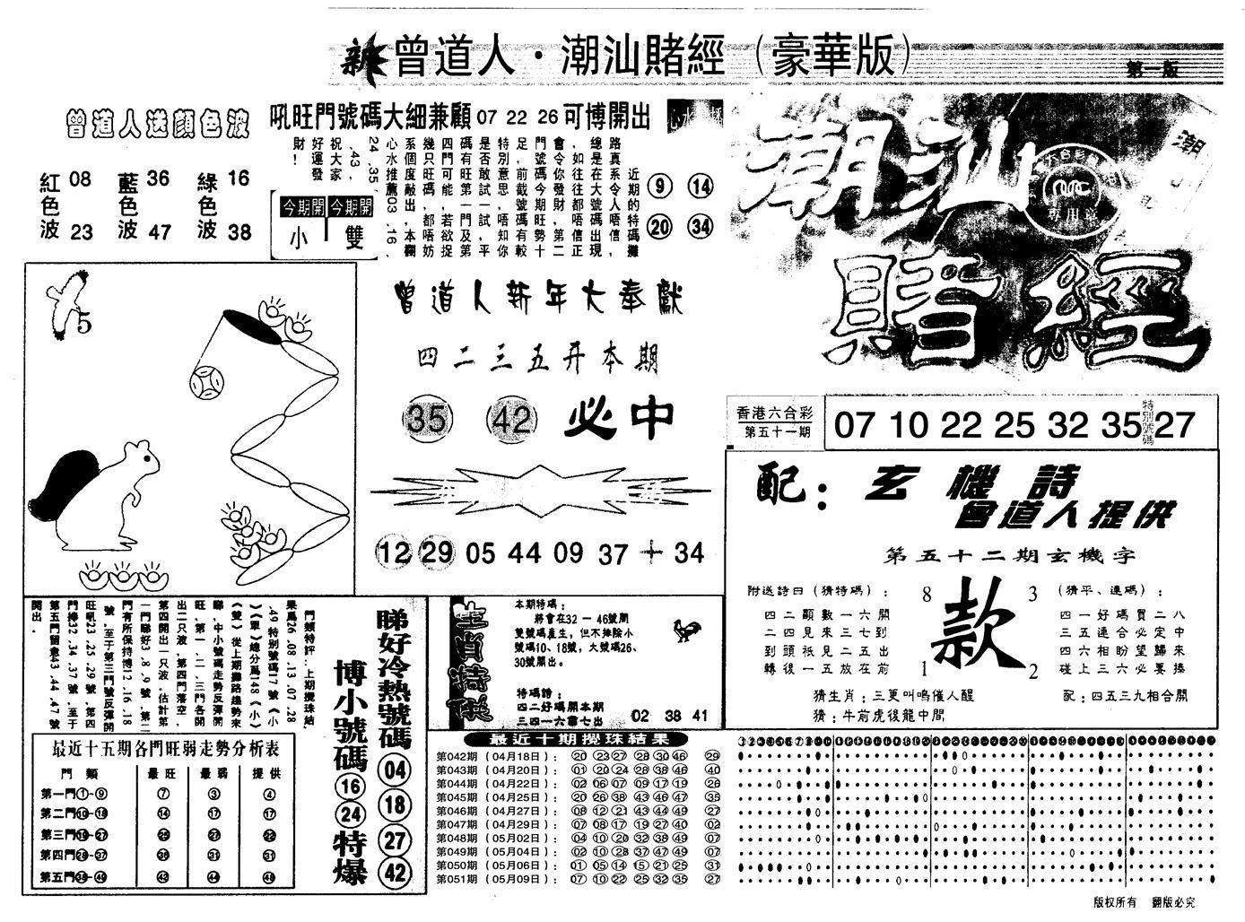 052期另潮汕赌经濠华版A(黑白)