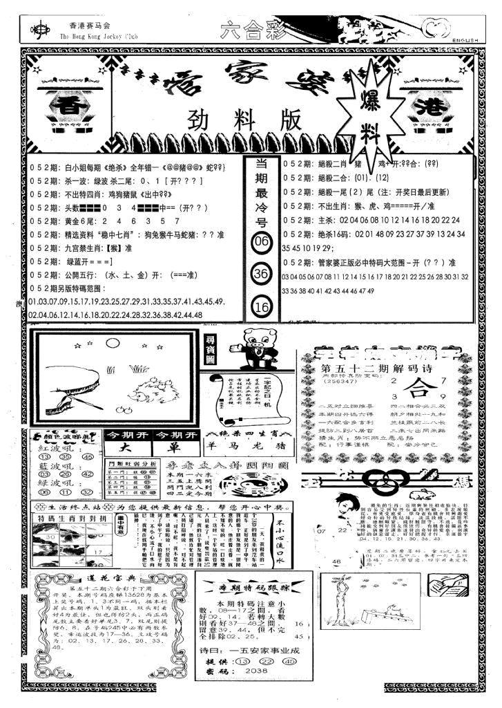 052期管家婆劲料版(新)(黑白)