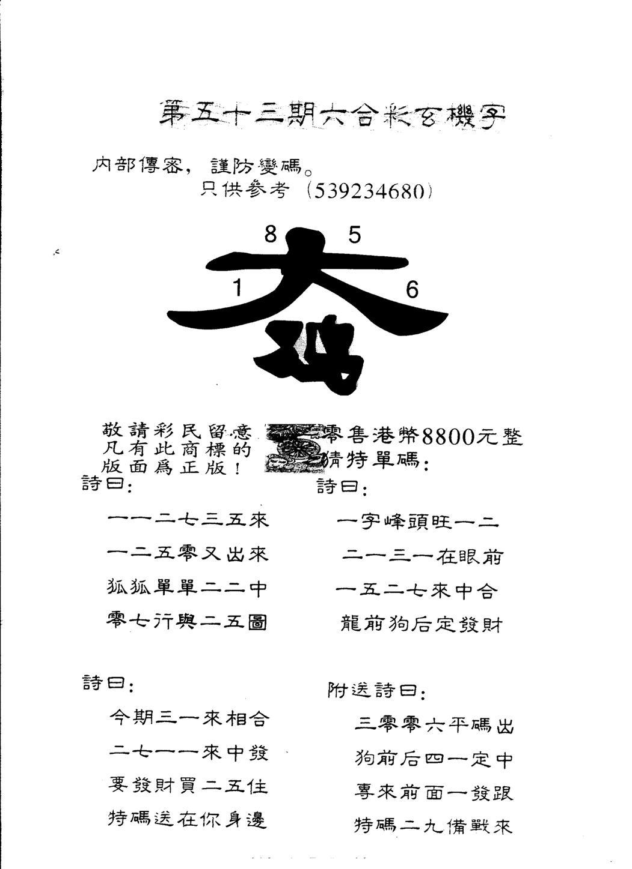 053期另版880玄机字(黑白)