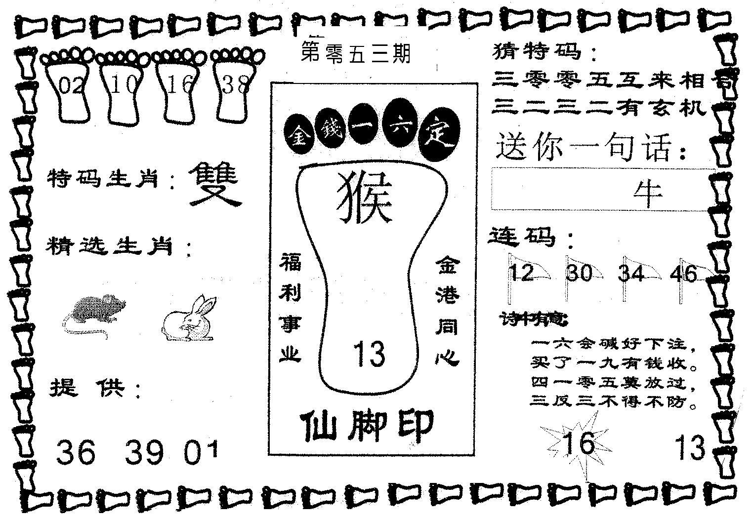 053期仙脚印(黑白)