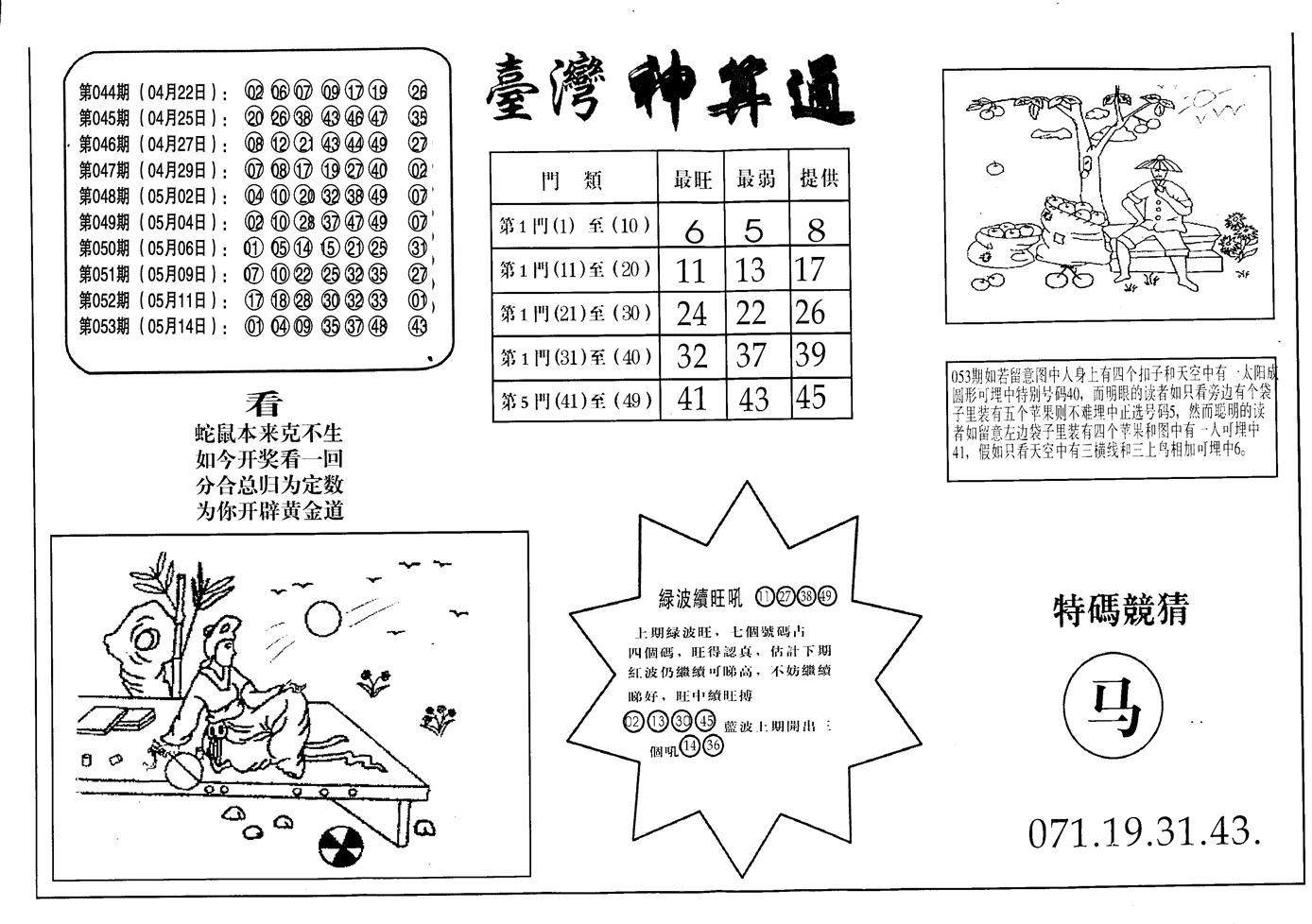 054期老潮汕台湾神算(黑白)