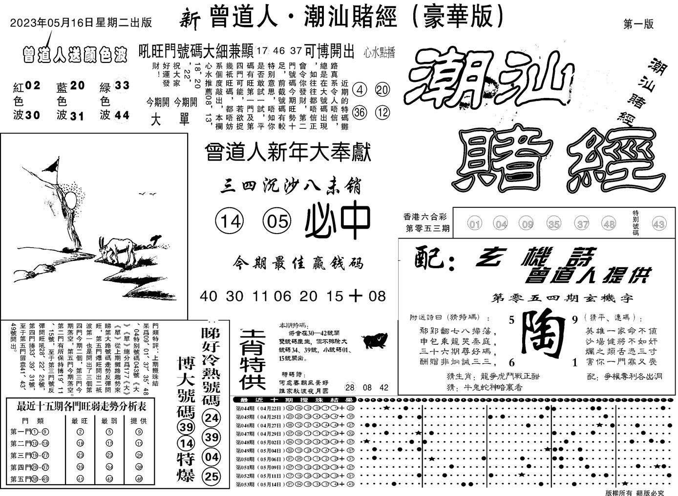 054期潮汕赌经濠华版A(黑白)