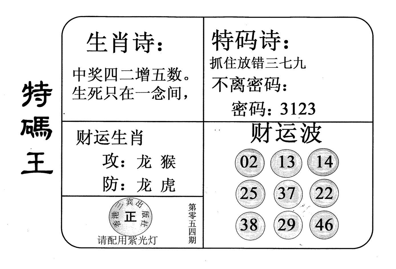 054期老版特码王(黑白)