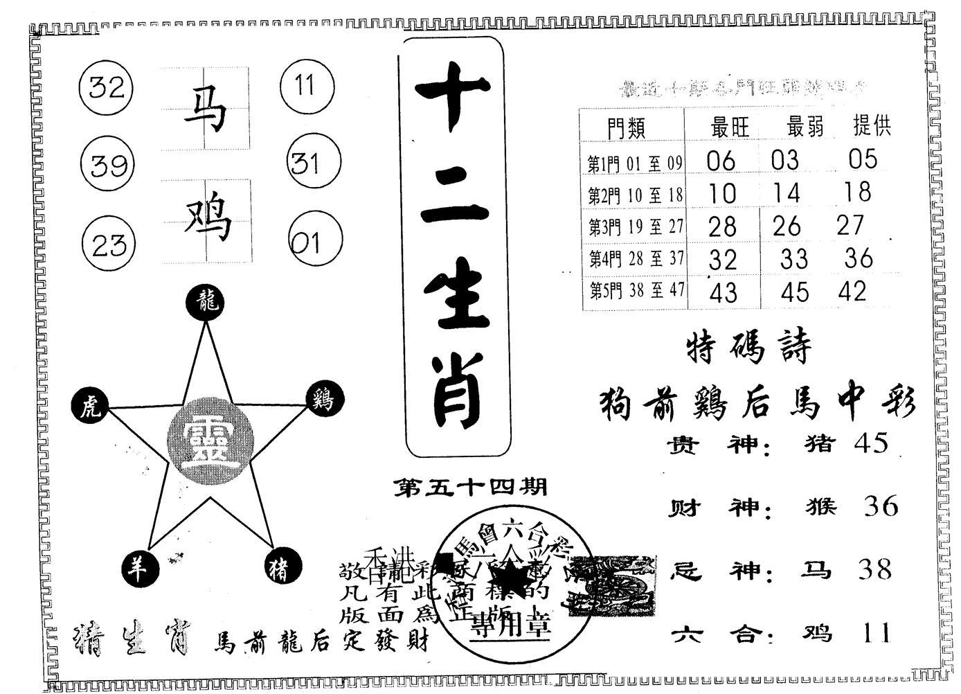 054期另版十二生肖(黑白)
