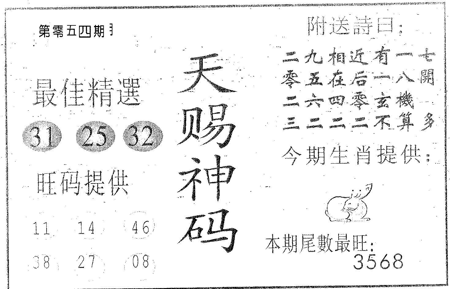 054期天赐神码(黑白)