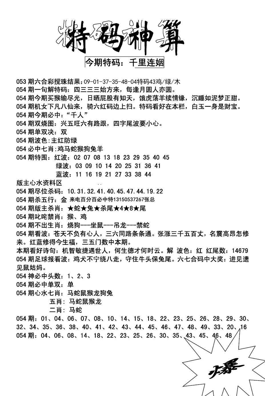 054期特码神算(黑白)