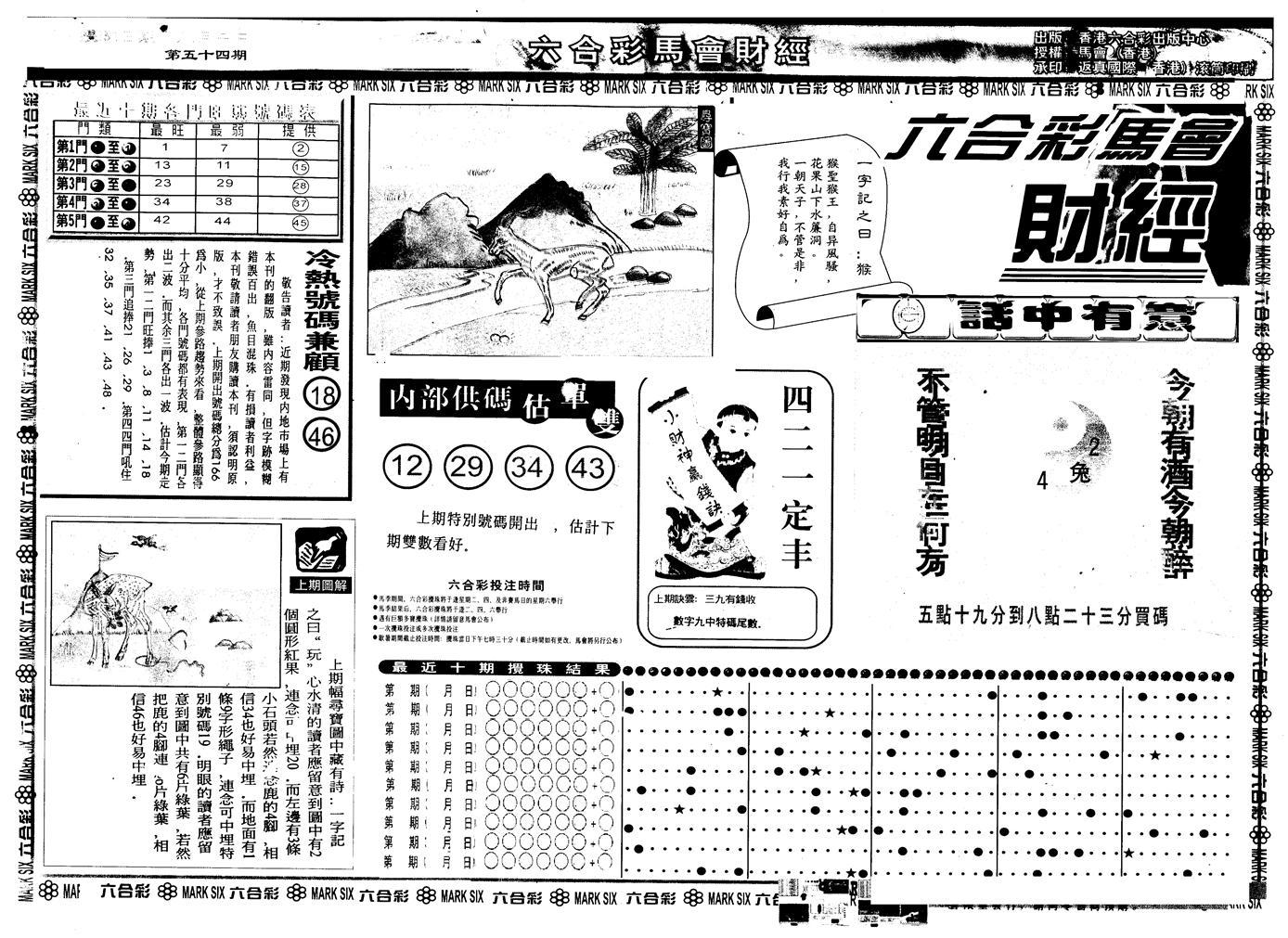 054期另版马会财经A(黑白)