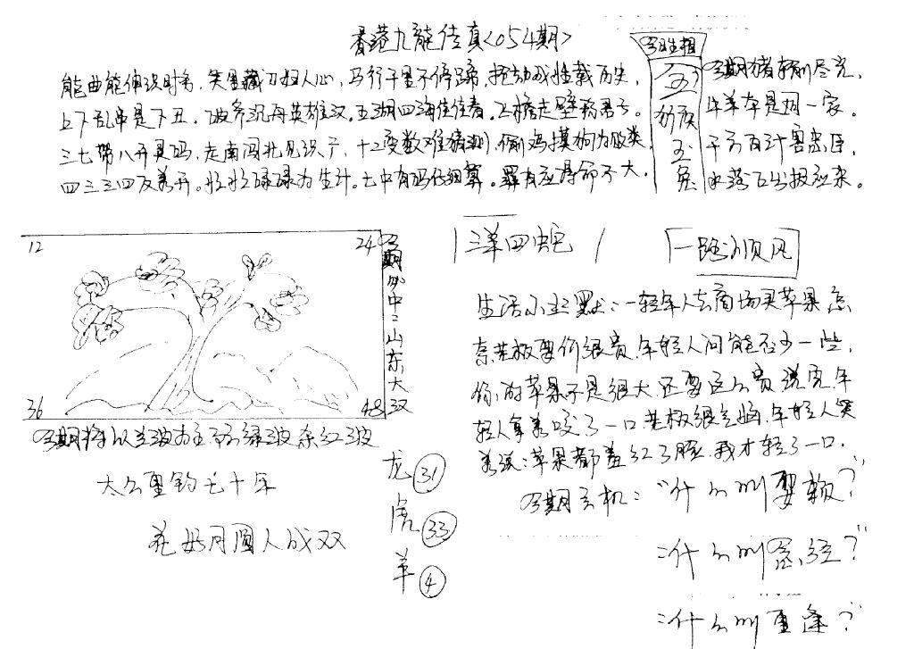 054期手写九龙内幕(早图)(黑白)