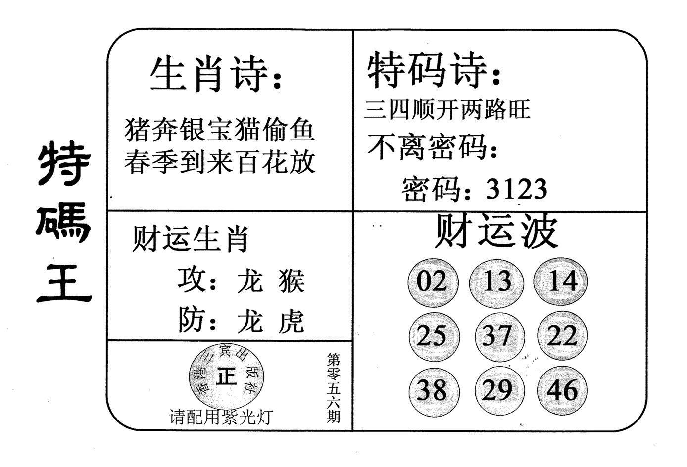 056期老版特码王(黑白)