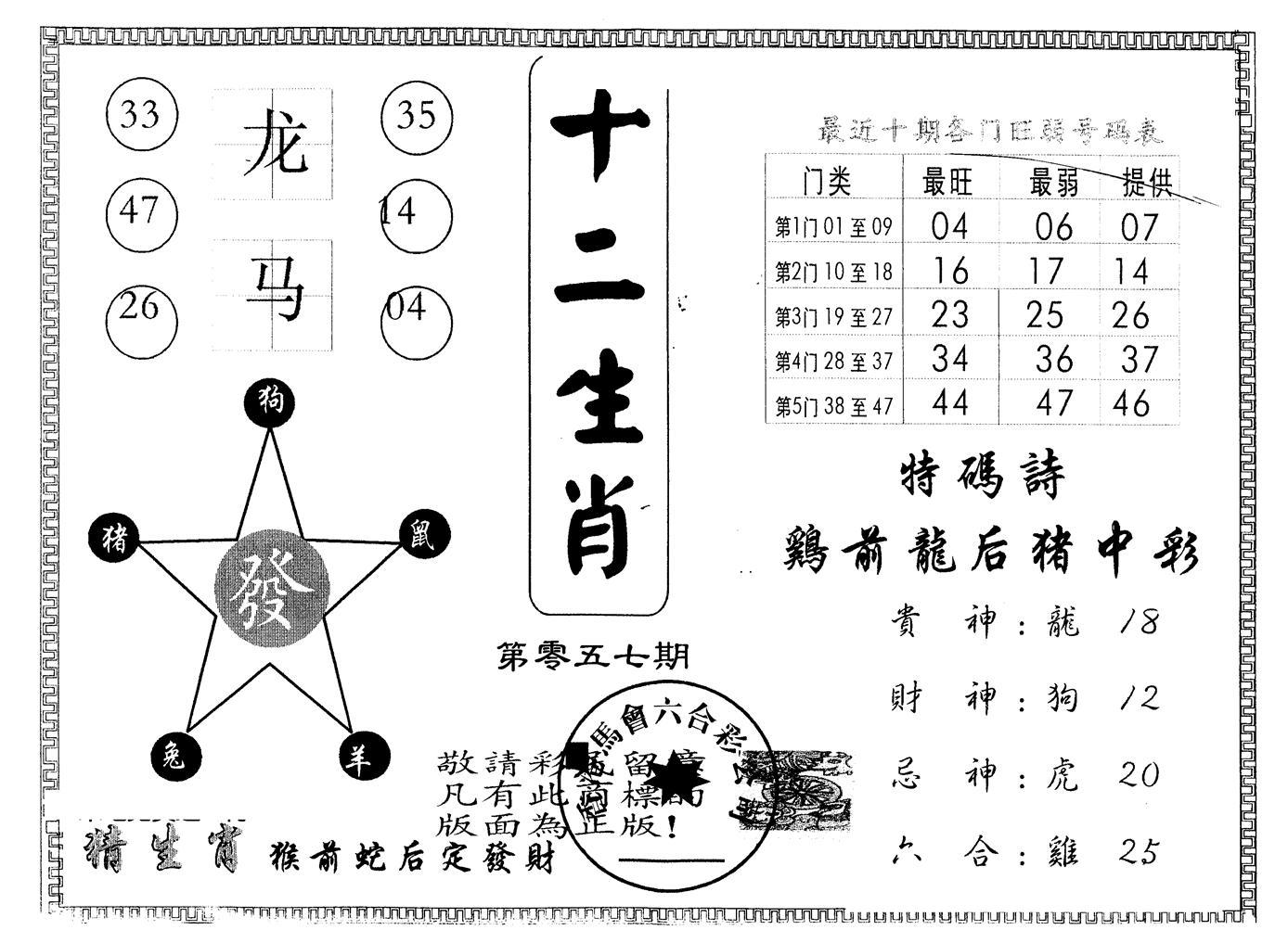 057期另版十二生肖(黑白)