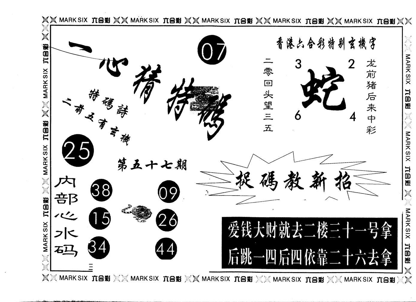 057期另版一心猜特码(黑白)