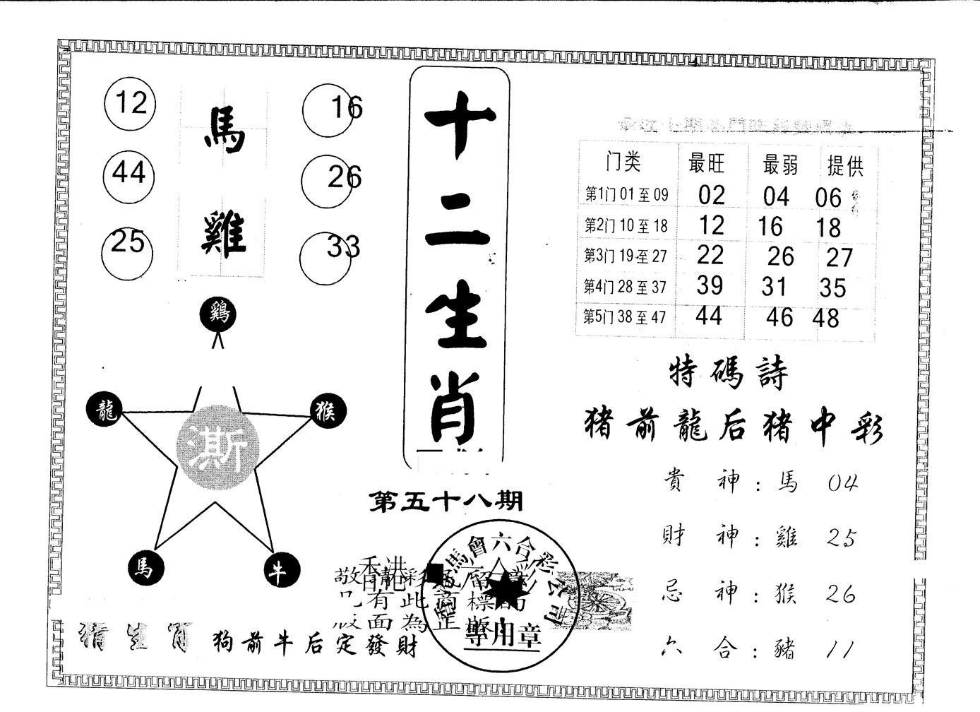 058期另版十二生肖(黑白)