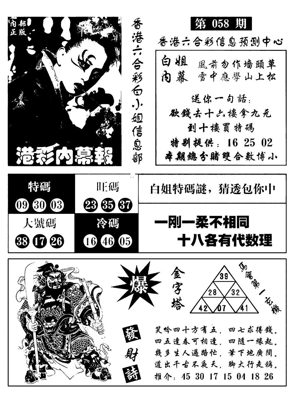 058期港彩内幕报(黑白)