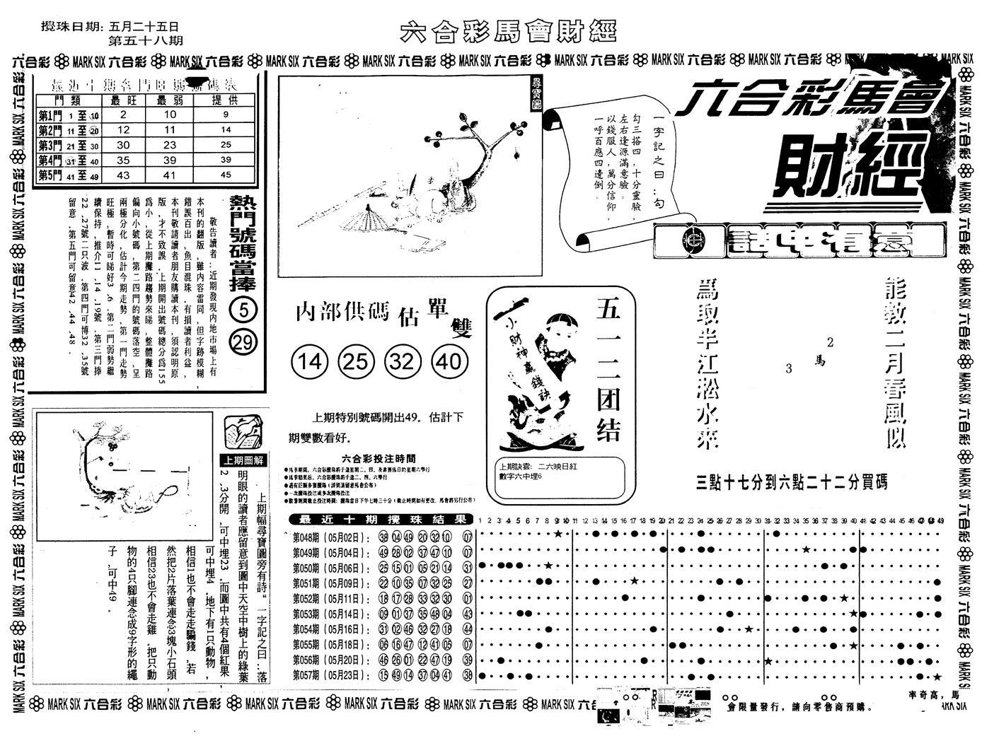 058期另版马会财经A(黑白)