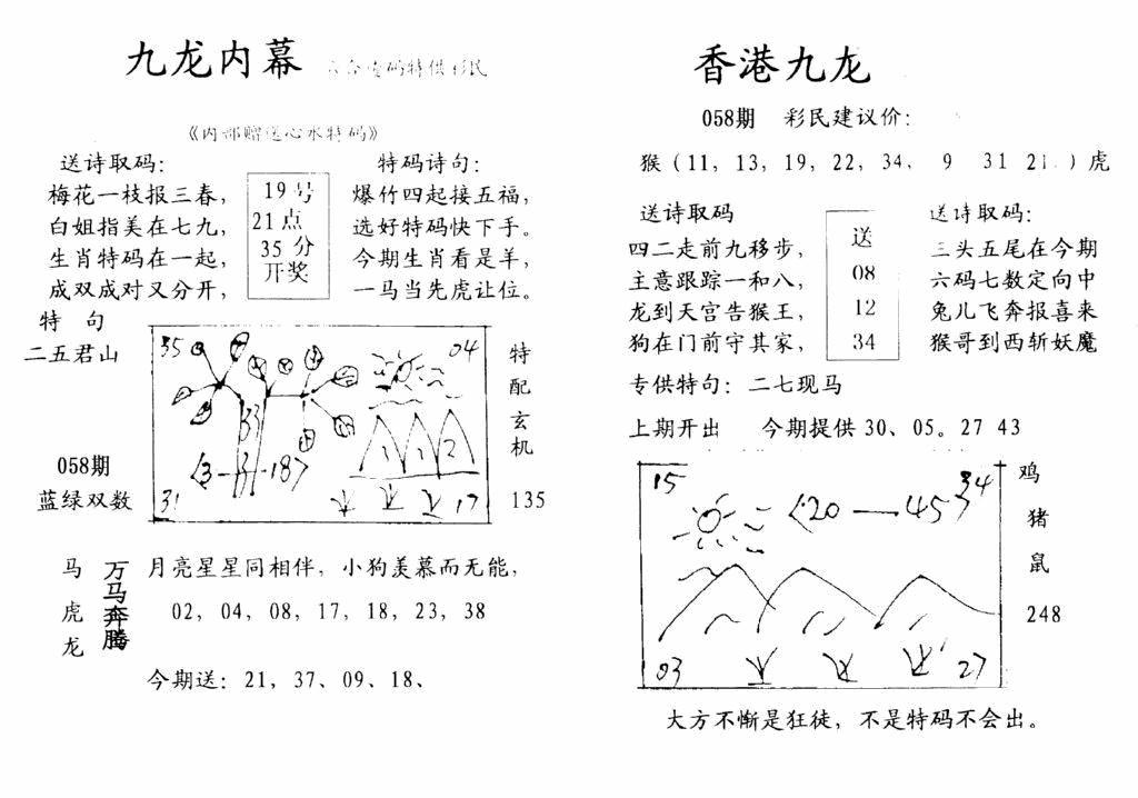 058期九龙内幕-开奖报(早图)(黑白)