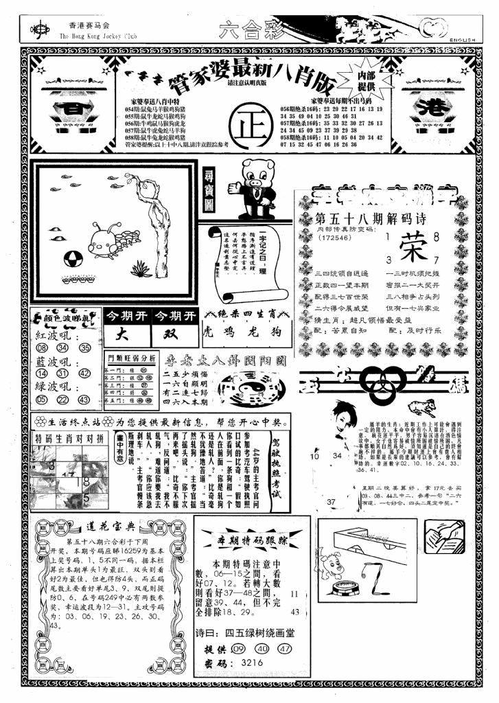058期管家婆八肖版(新)(黑白)