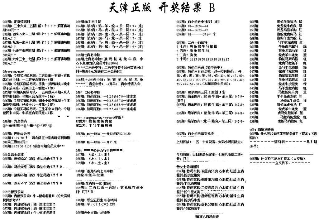 059期天津正版开奖结果B(黑白)