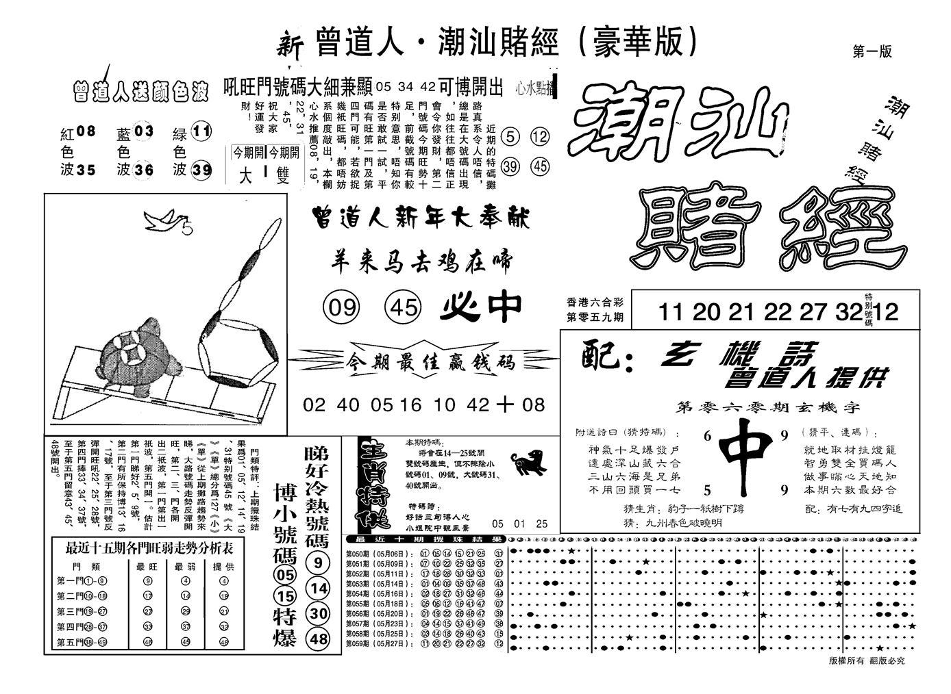 060期另潮汕赌经濠华版A(黑白)