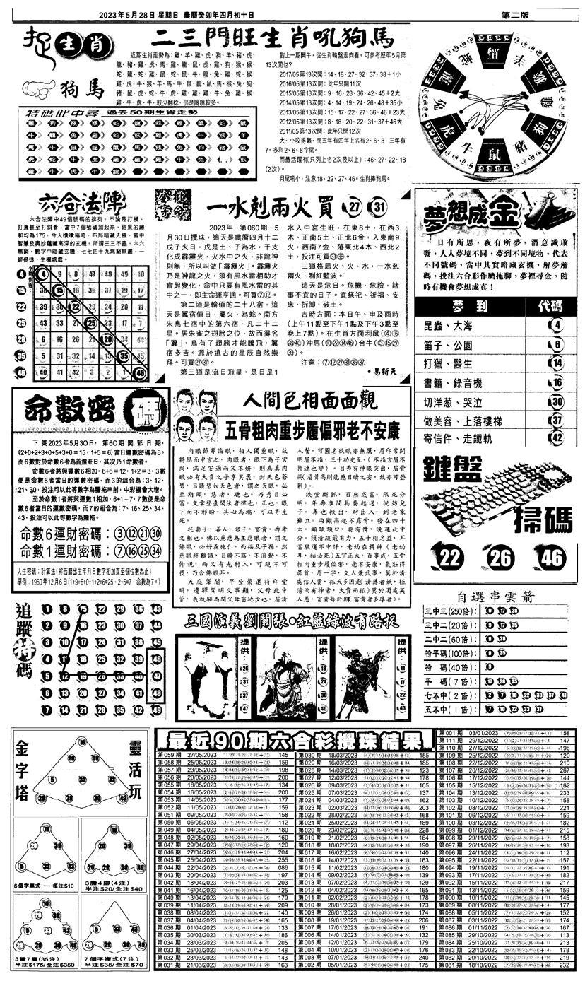 060期新报跑狗4(黑白)