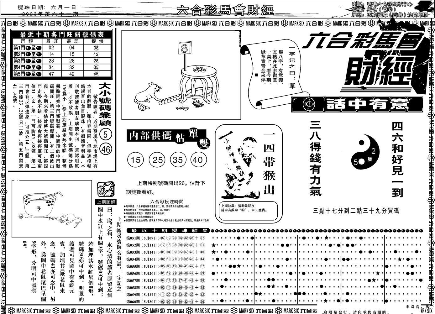 061期马会财经A(黑白)