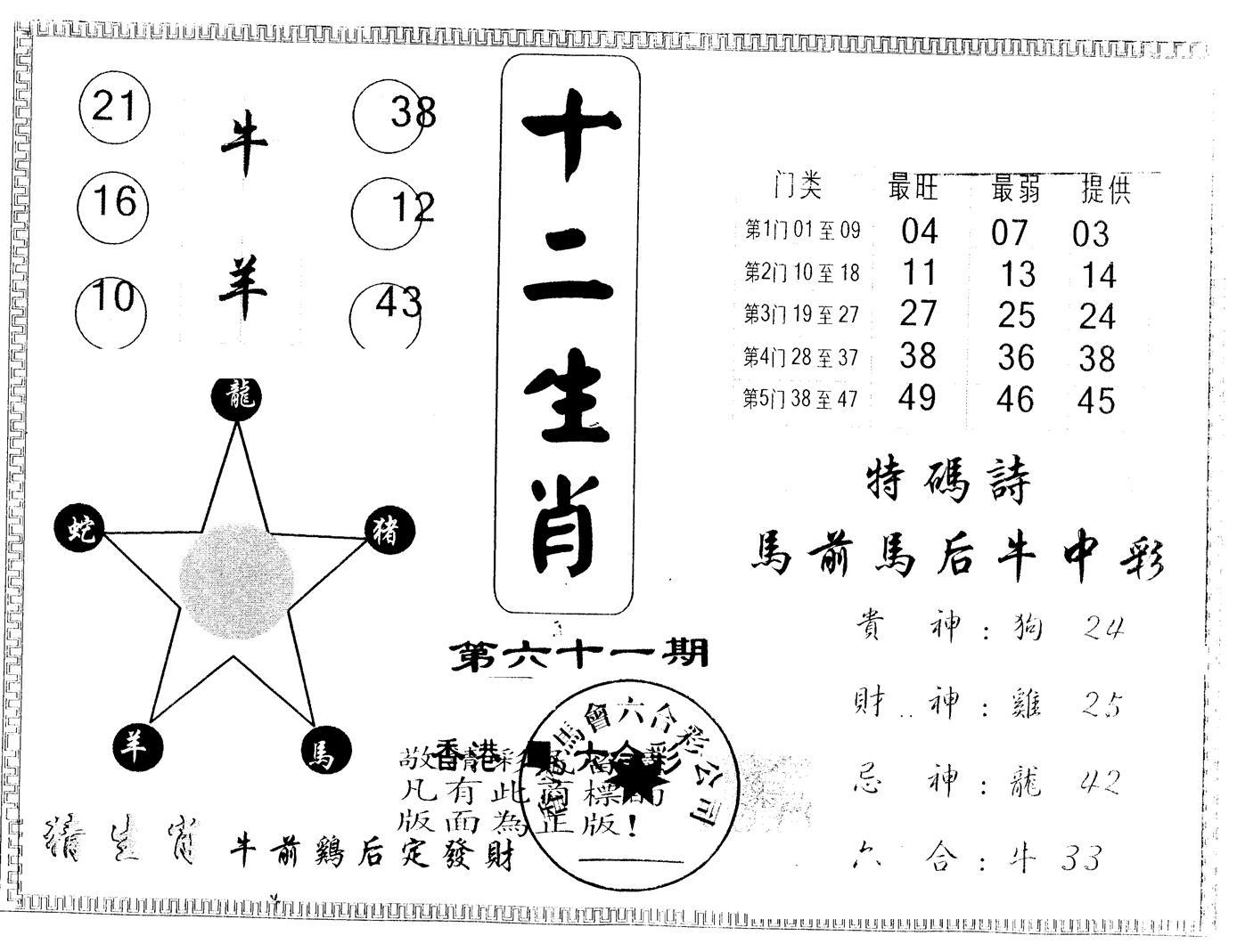 061期另版十二生肖(黑白)