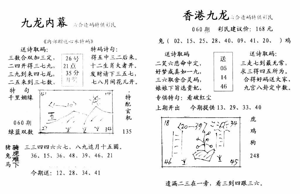 061期九龙内幕-开奖报(早图)(黑白)