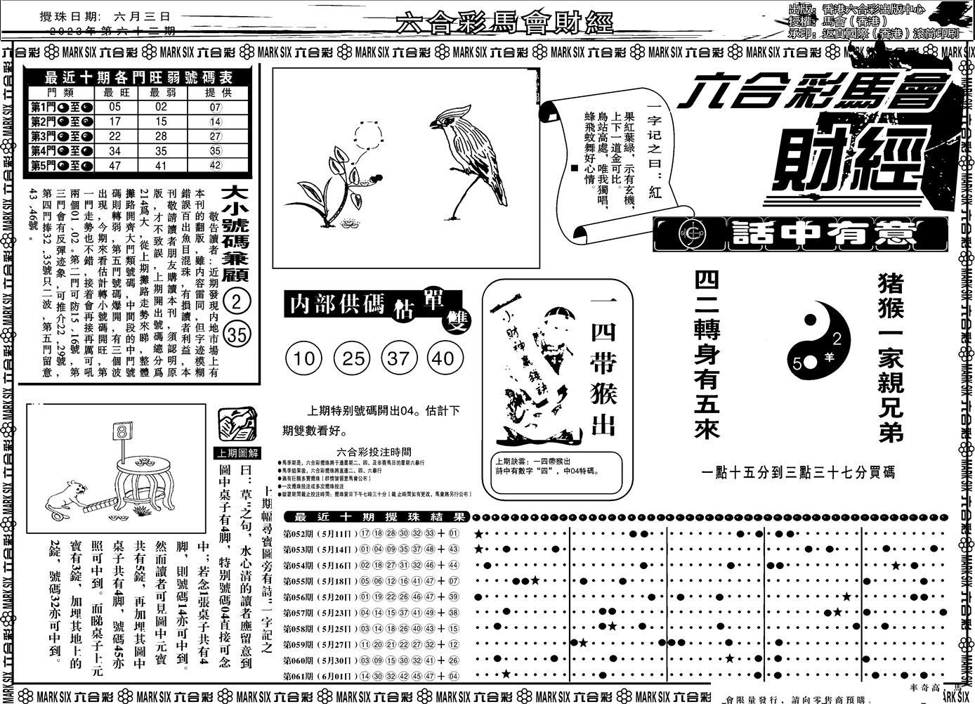 062期马会财经A(黑白)