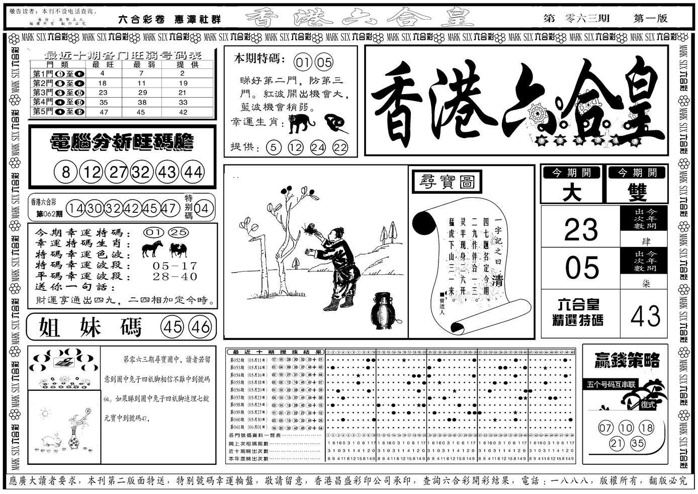 062期香港六合皇A(黑白)
