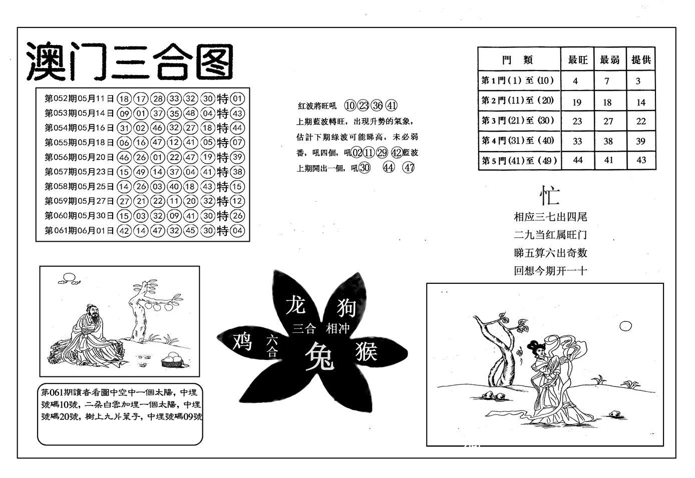 062期另澳门三合图(黑白)