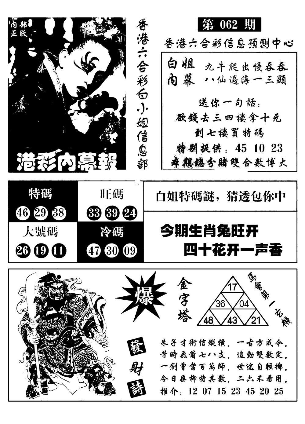 062期港彩内幕报(黑白)